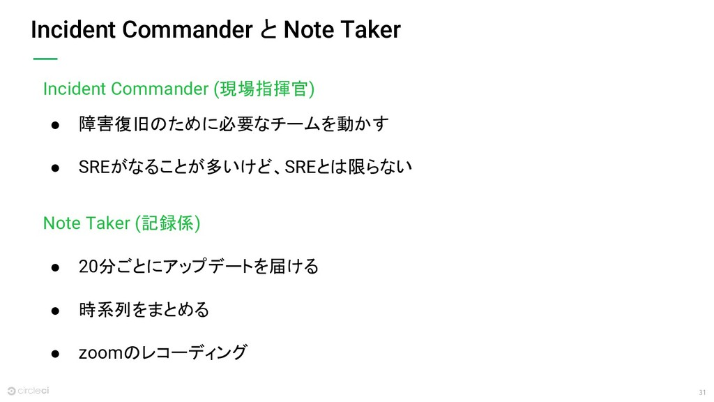 31 Incident Commander と Note Taker Incident Com...