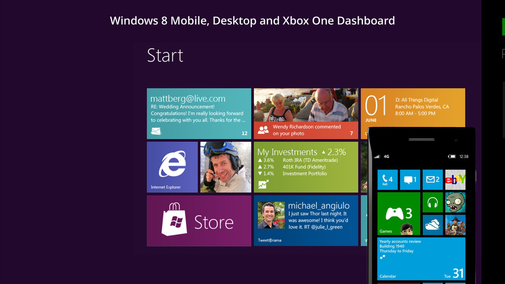 Windows 8 Mobile, Desktop and Xbox One Dashboard