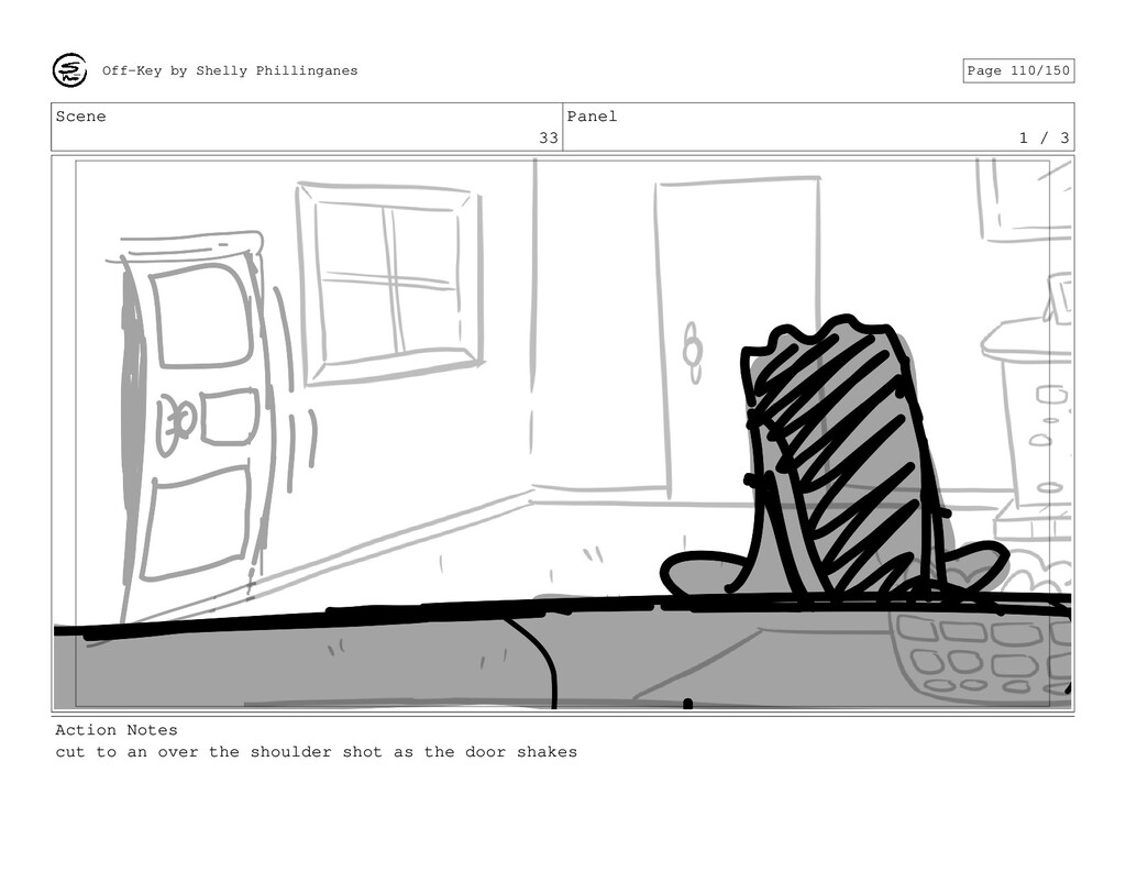 Scene 33 Panel 1 / 3 Action Notes cut to an ove...