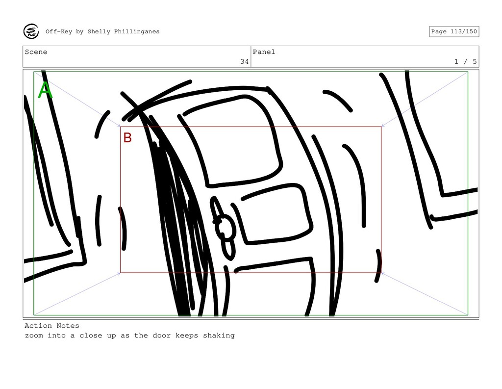 Scene 34 Panel 1 / 5 Action Notes zoom into a c...