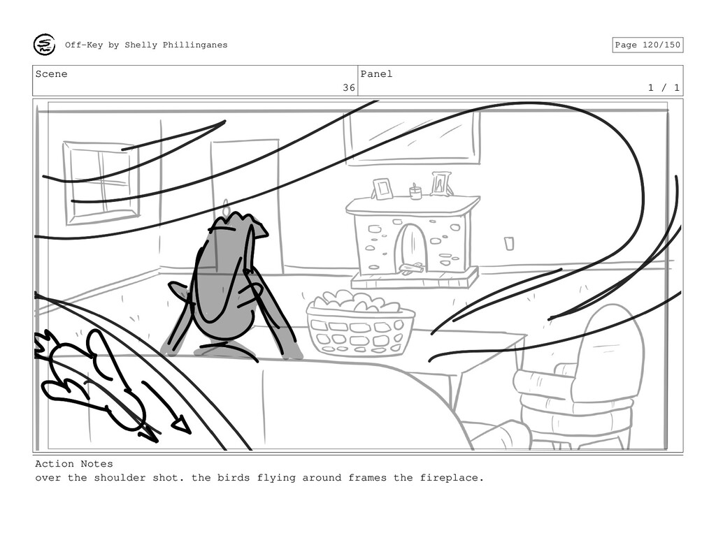 Scene 36 Panel 1 / 1 Action Notes over the shou...
