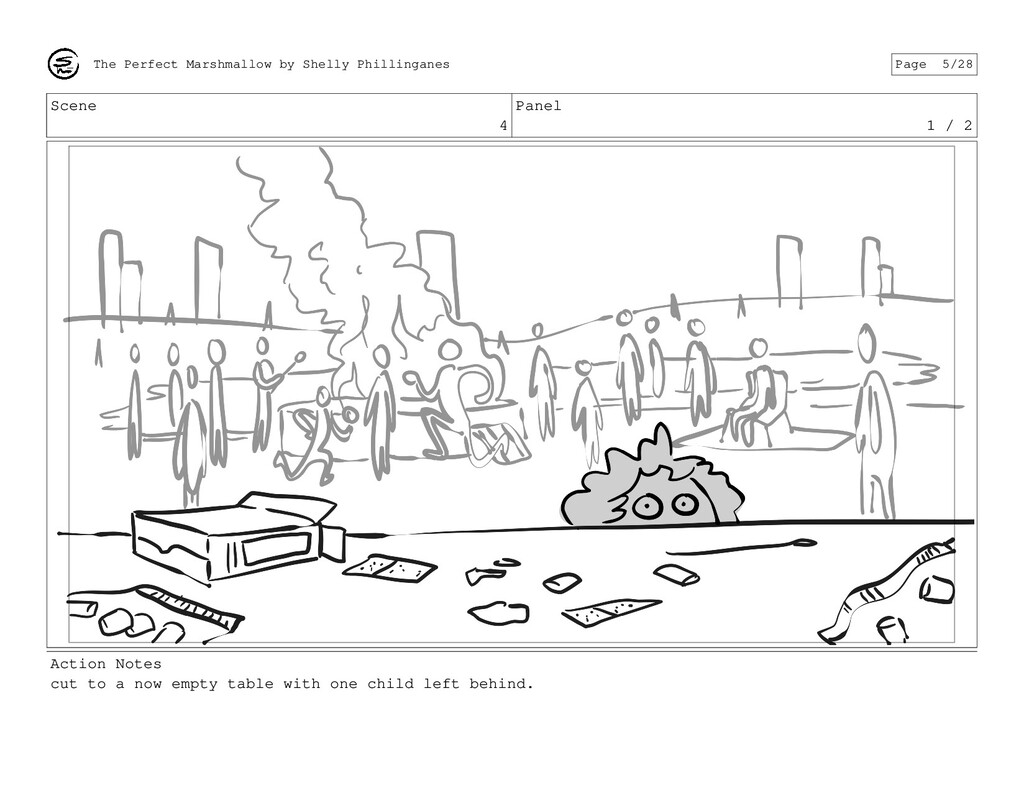 Scene 4 Panel 1 / 2 Action Notes cut to a now e...