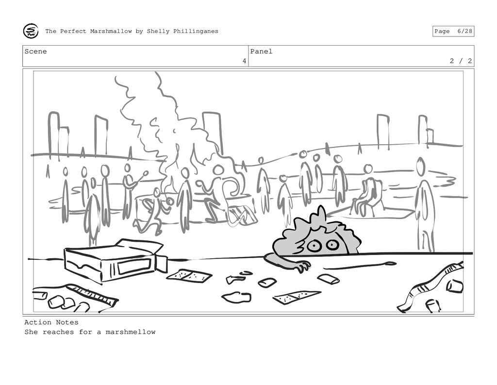 Scene 4 Panel 2 / 2 Action Notes She reaches fo...