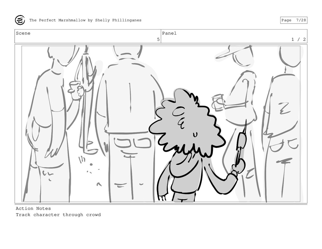 Scene 5 Panel 1 / 2 Action Notes Track characte...