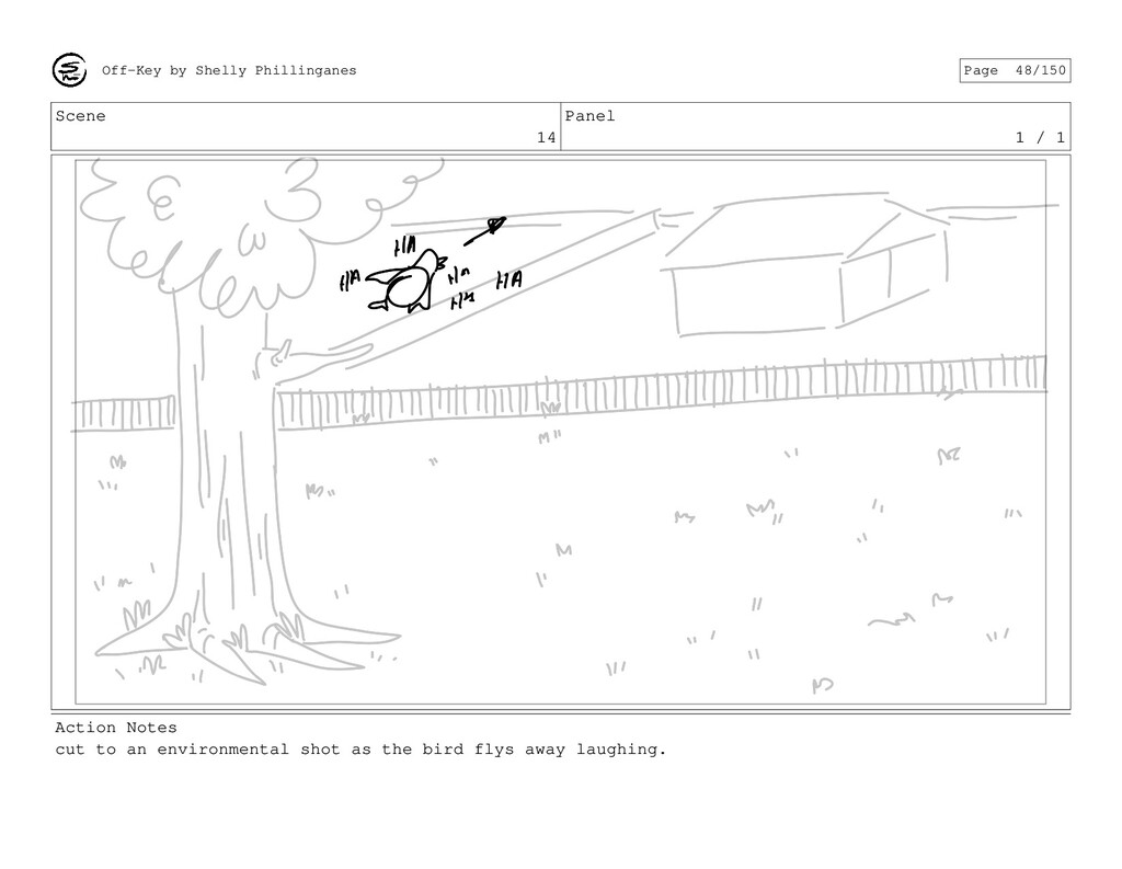 Scene 14 Panel 1 / 1 Action Notes cut to an env...
