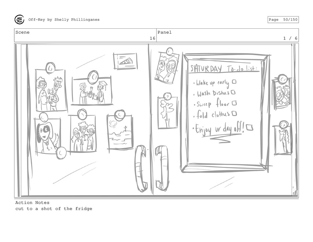 Scene 16 Panel 1 / 6 Action Notes cut to a shot...