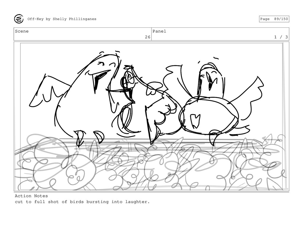 Scene 26 Panel 1 / 3 Action Notes cut to full s...