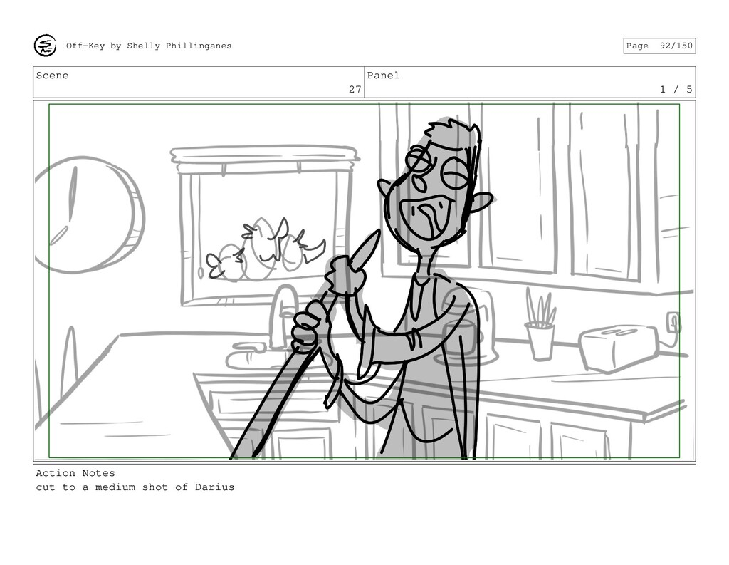 Scene 27 Panel 1 / 5 Action Notes cut to a medi...