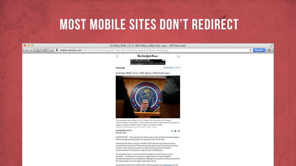 MOST MOBILE SITES DON'T REDIRECT