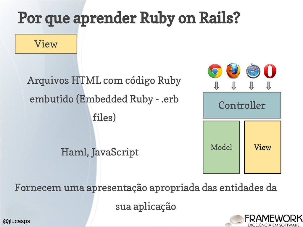 Por que aprender Ruby on Rails? @jlucasps Model...