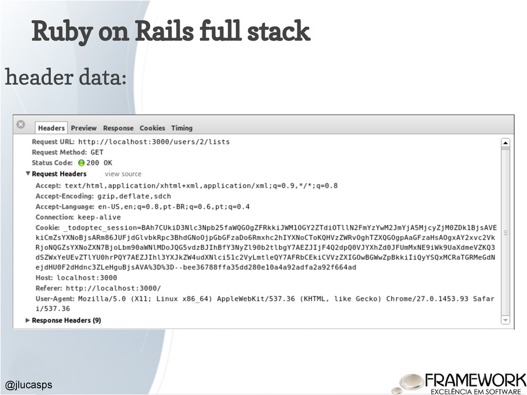 Ruby on Rails full stack @jlucasps header data: