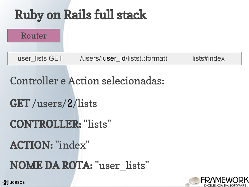 Ruby on Rails full stack @jlucasps Router user_...