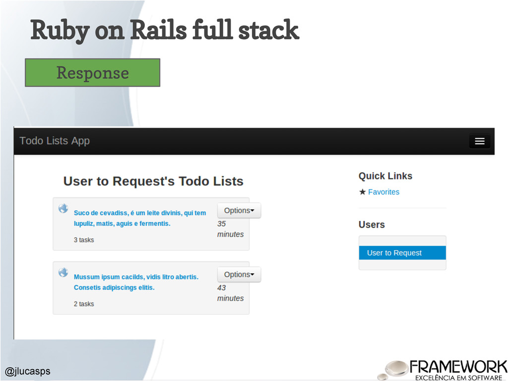 Ruby on Rails full stack @jlucasps Response