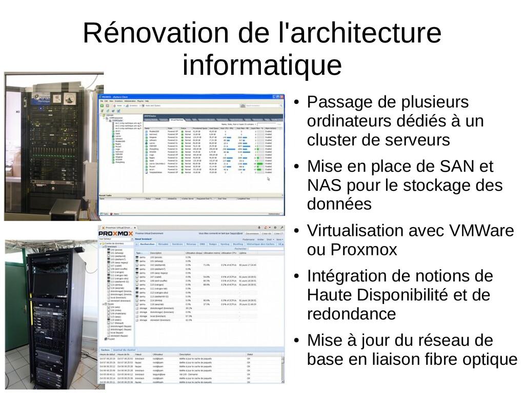 Rénovation de l'architecture informatique ● Pas...