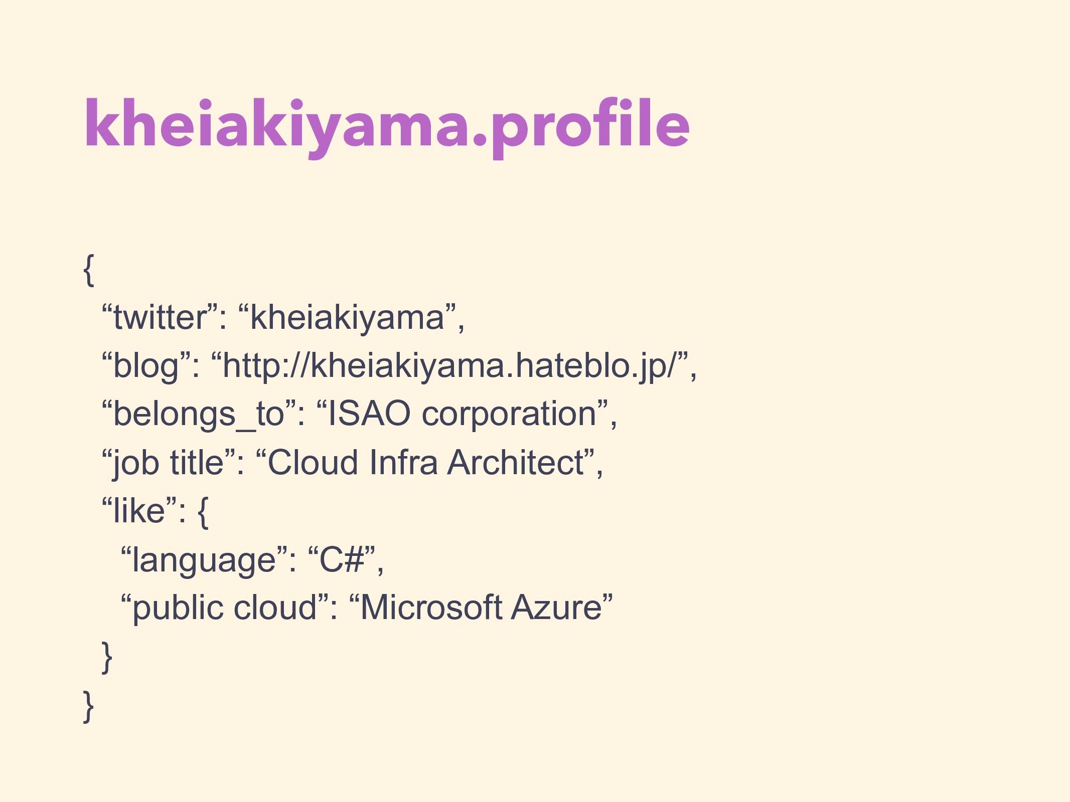 """kheiakiyama.profile { """"twitter"""": """"kheiakiyama"""", ..."""