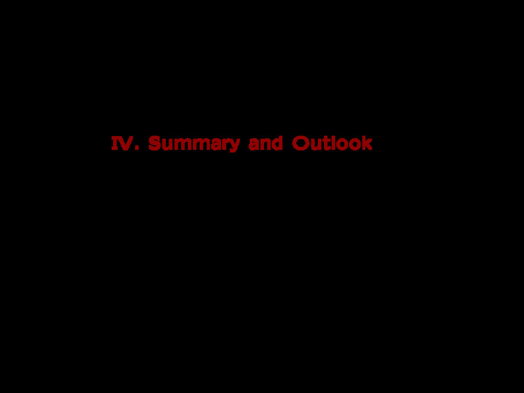 IV. Summary and Outlook