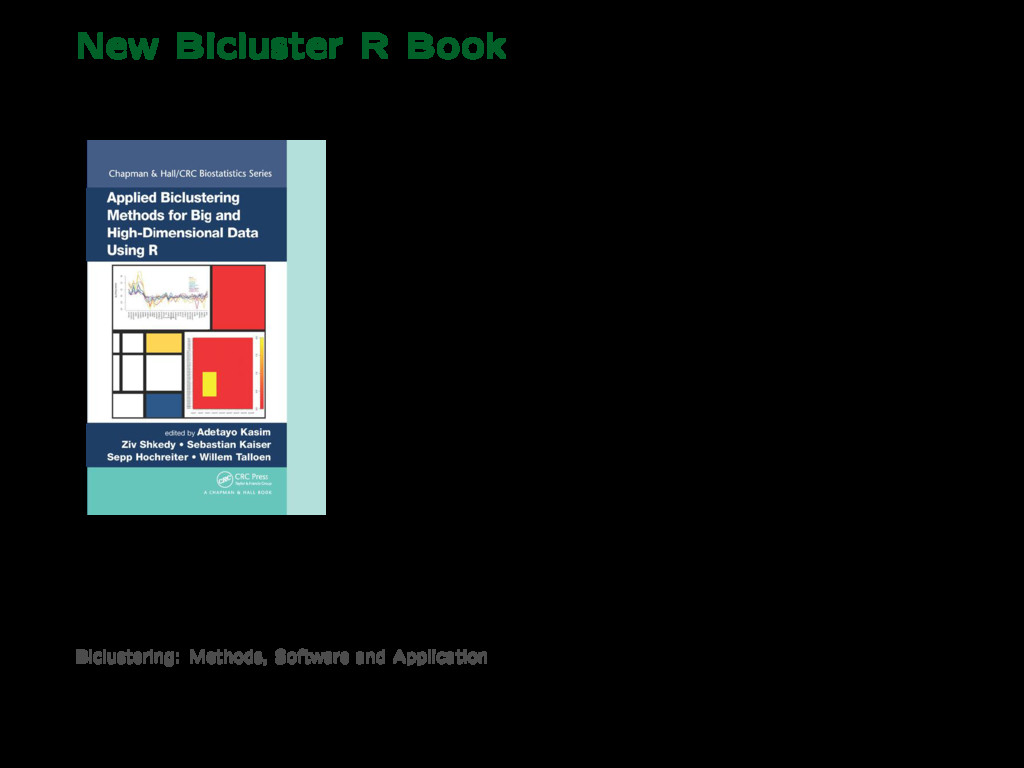 New Bicluster R Book Applied Biclustering Metho...