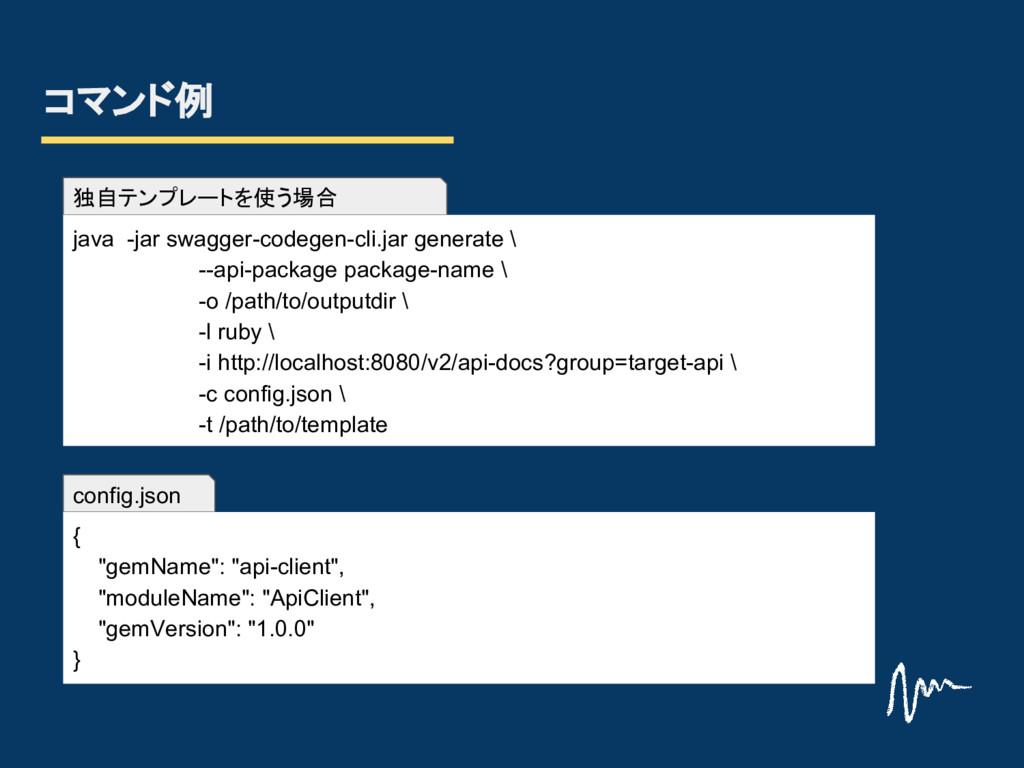 config.json 独自テンプレートを使う場合 コマンド例 java -jar swagg...