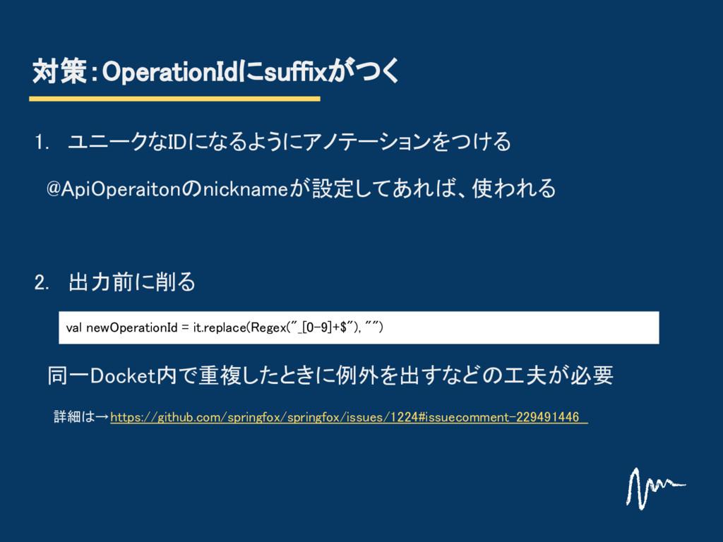 対策:OperationIdにsuffixがつく 1. ユニークなIDになるようにアノテーショ...