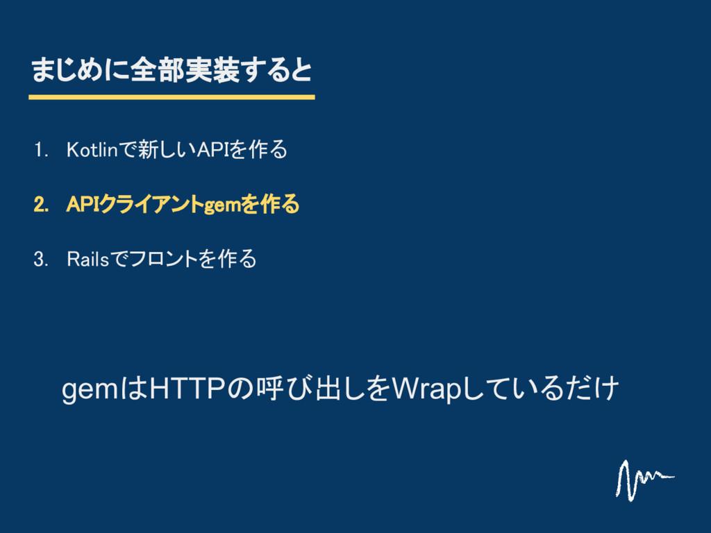 まじめに全部実装すると 1. Kotlinで新しいAPIを作る 2. APIクライアントgem...