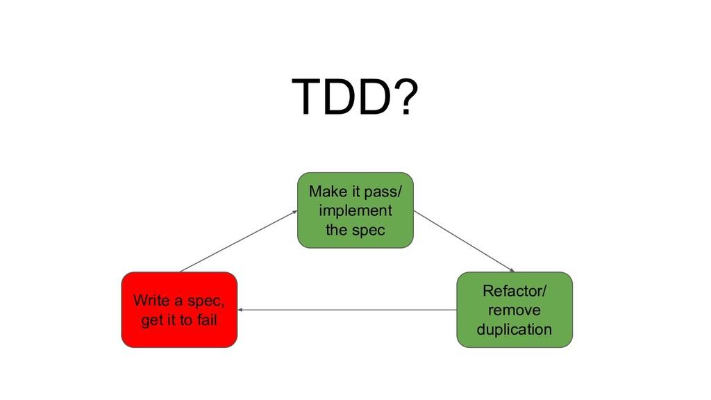 TDD? Write a spec, get it to fail Make it pass/...
