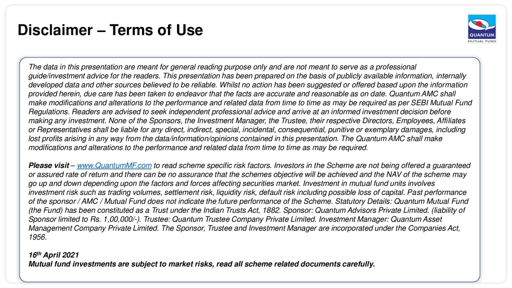 Disclaimer – Terms of Use The data in this pres...
