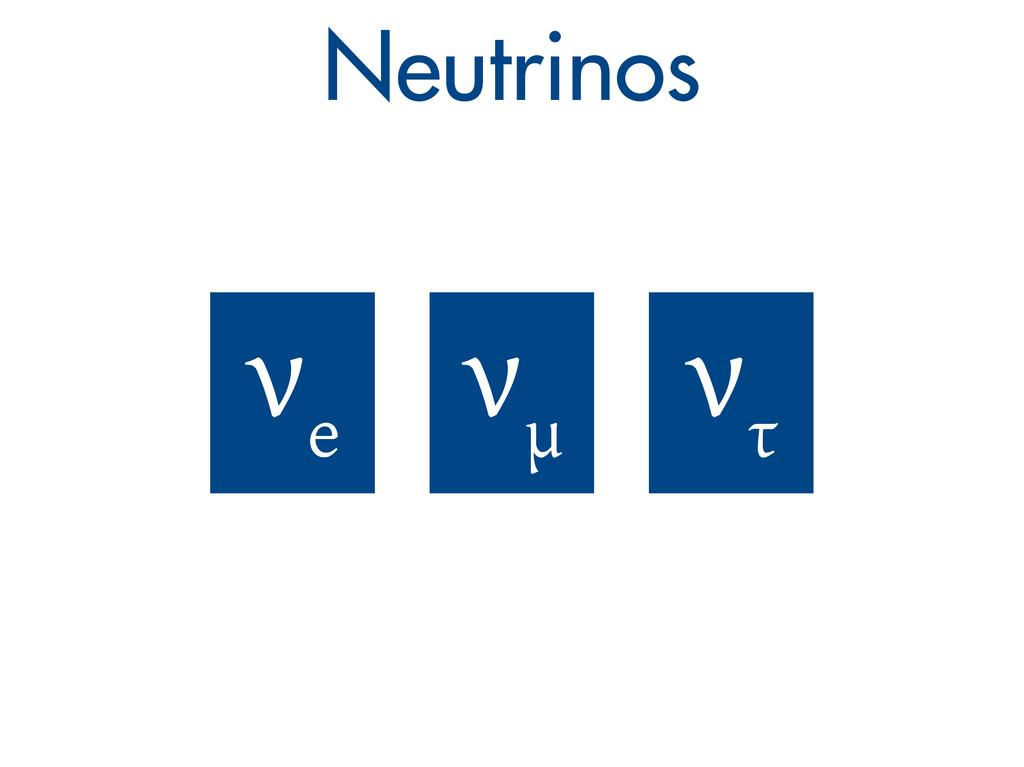 Neutrinos ν e ν μ ν τ