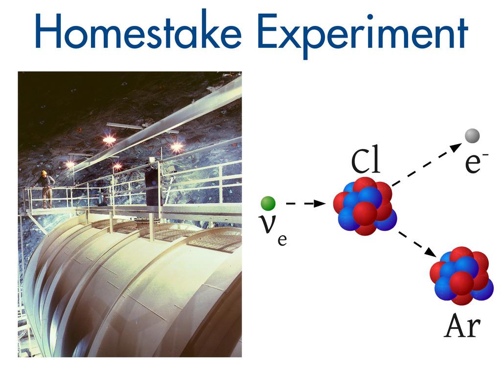 Homestake Experiment ν e e- Cl Ar