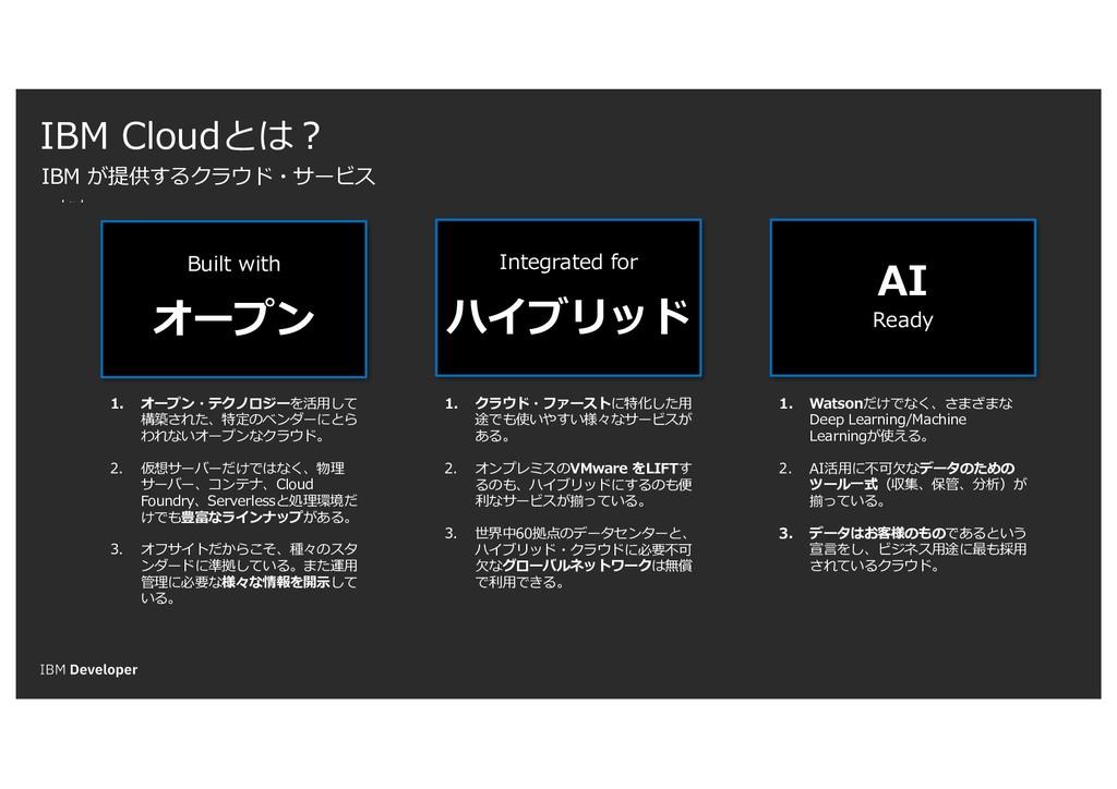text IBM Cloudとは? IBM が提供するクラウド・サービス Built with...