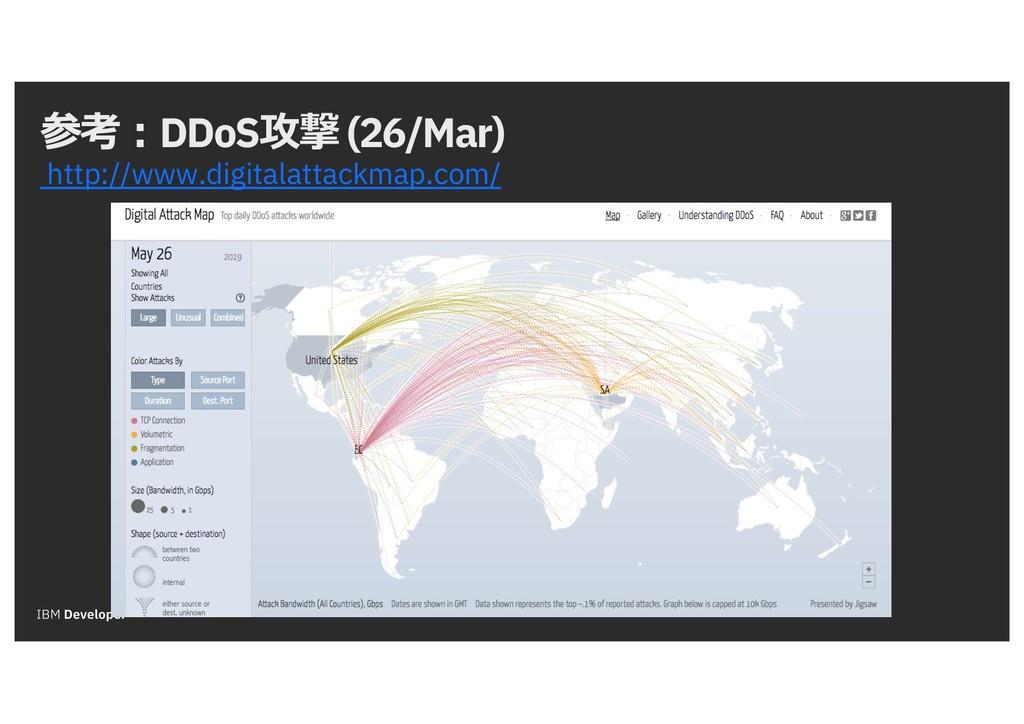 参考:DDoS攻撃 (26/Mar) http://www.digitalattackmap....