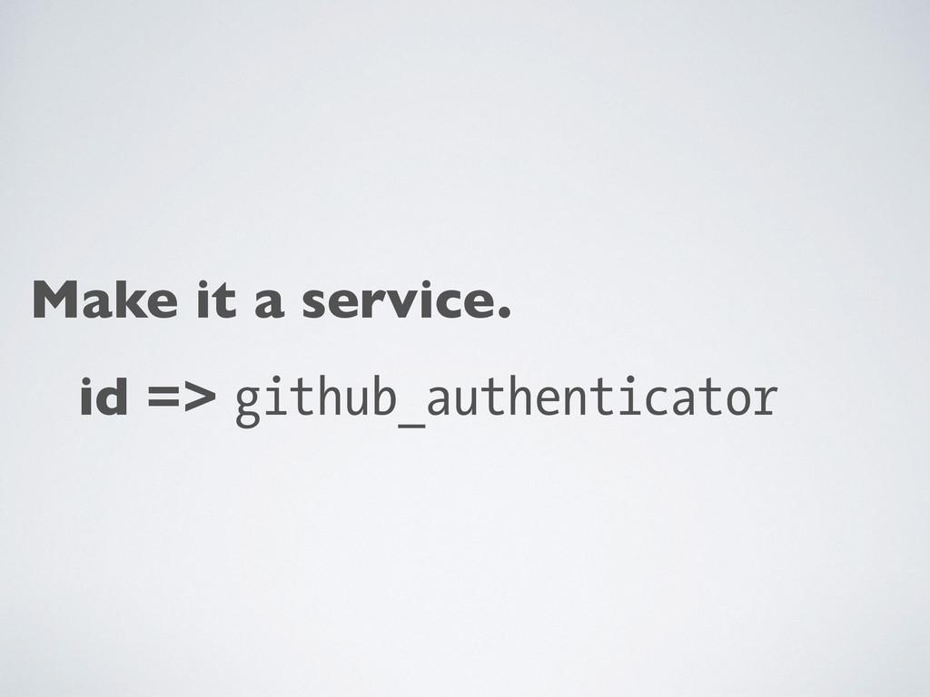 Make it a service. id => github_authenticator