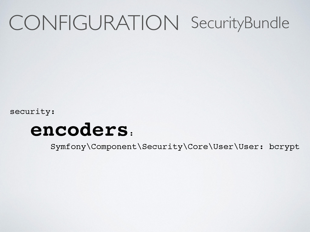 CONFIGURATION security: encoders: Symfony\Compo...