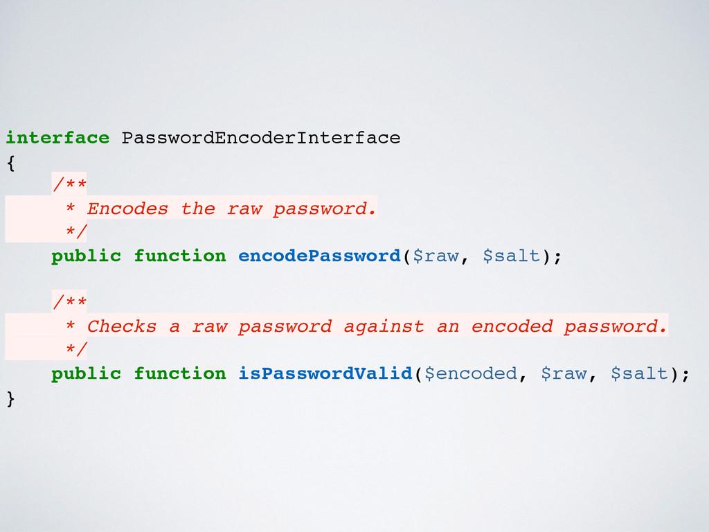 interface PasswordEncoderInterface { /** * Enco...