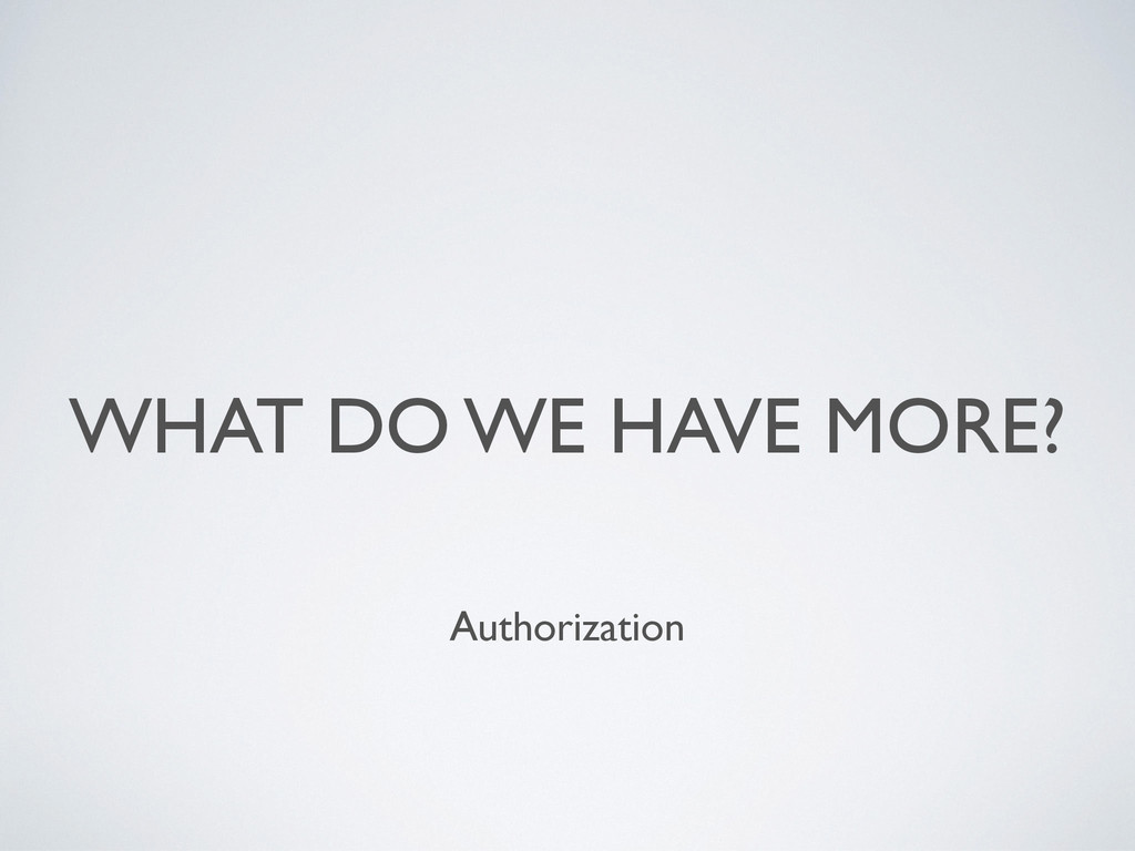 WHAT DO WE HAVE MORE? Authorization