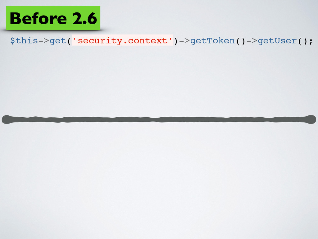 $this->get('security.context')->getToken()->get...