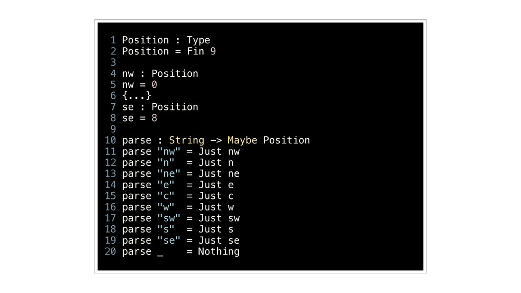 1 Position : Type 2 Position = Fin 9 3 4 nw : P...