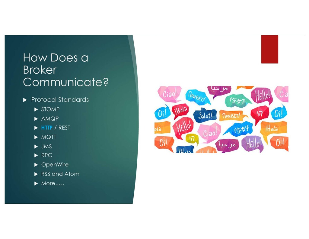 How Does a Broker Communicate? u Protocol Stand...