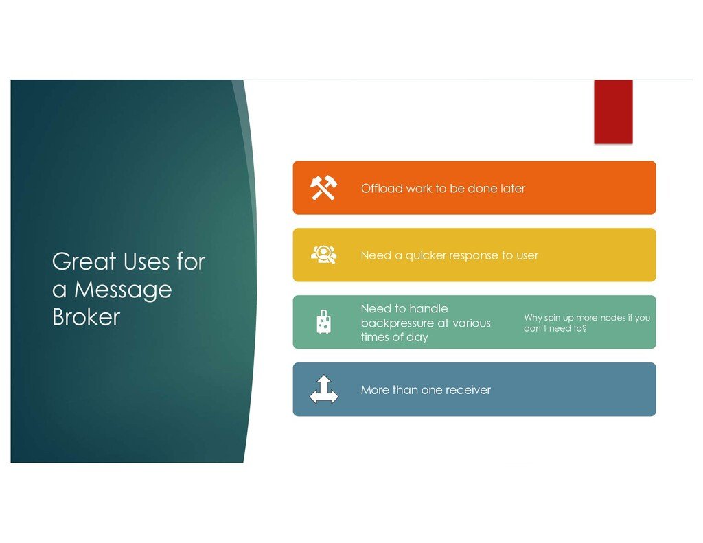 Great Uses for a Message Broker Offload work to...
