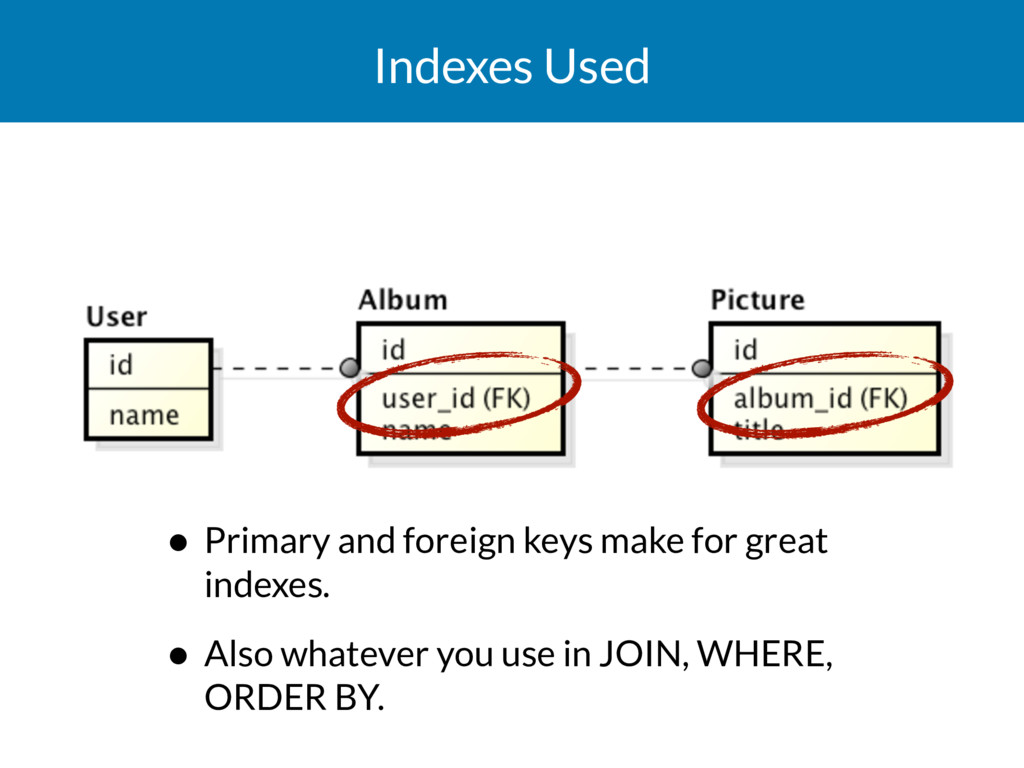 Indexes Used • Primary and foreign keys make fo...