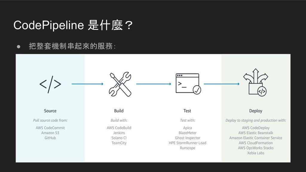 CodePipeline 是什麼? ● 把整套機制串起來的服務: