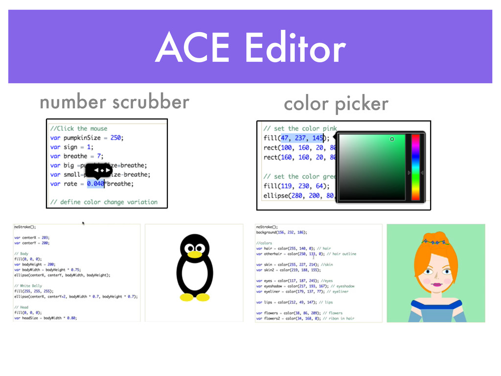 ACE Editor number scrubber color picker