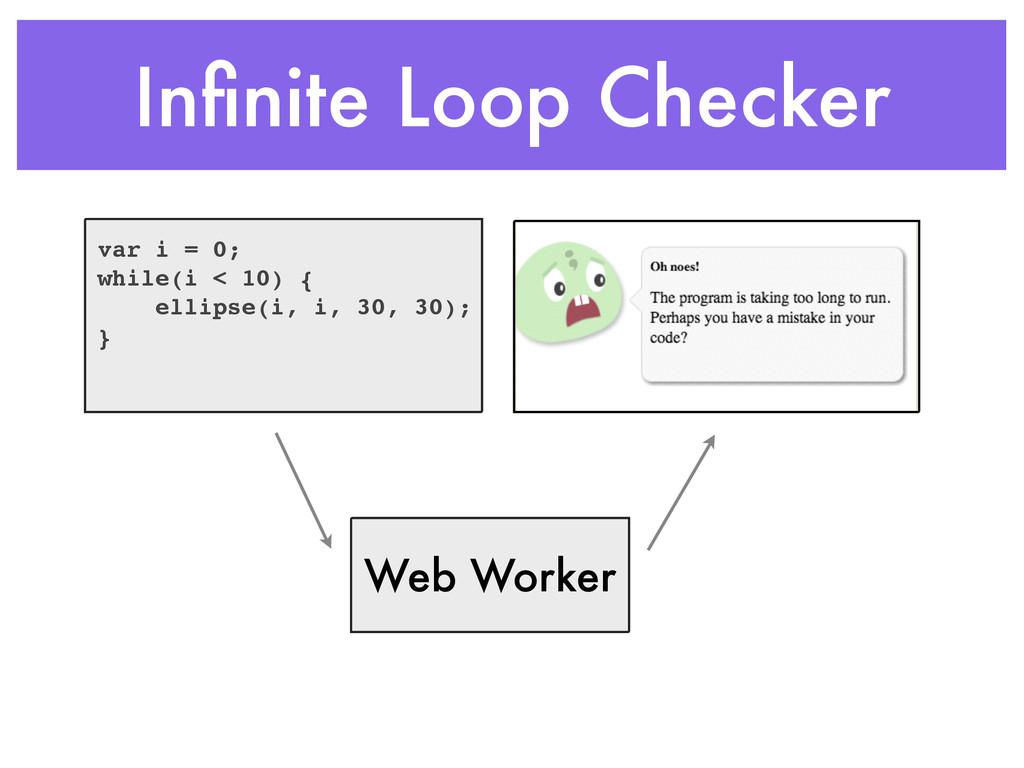 Infinite Loop Checker var i = 0;! while(i < 10) ...