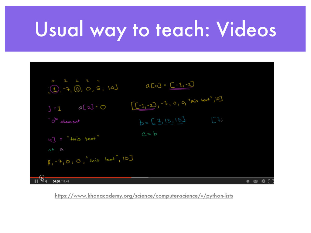 Usual way to teach: Videos https://www.khanacad...