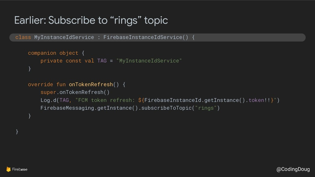 """@CodingDoug Earlier: Subscribe to """"rings"""" topic..."""