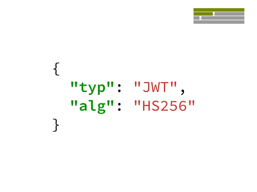 """{ """"typ"""": """"JWT"""", """"alg"""": """"HS256"""" } eyJ0eXAiOiJKV1..."""