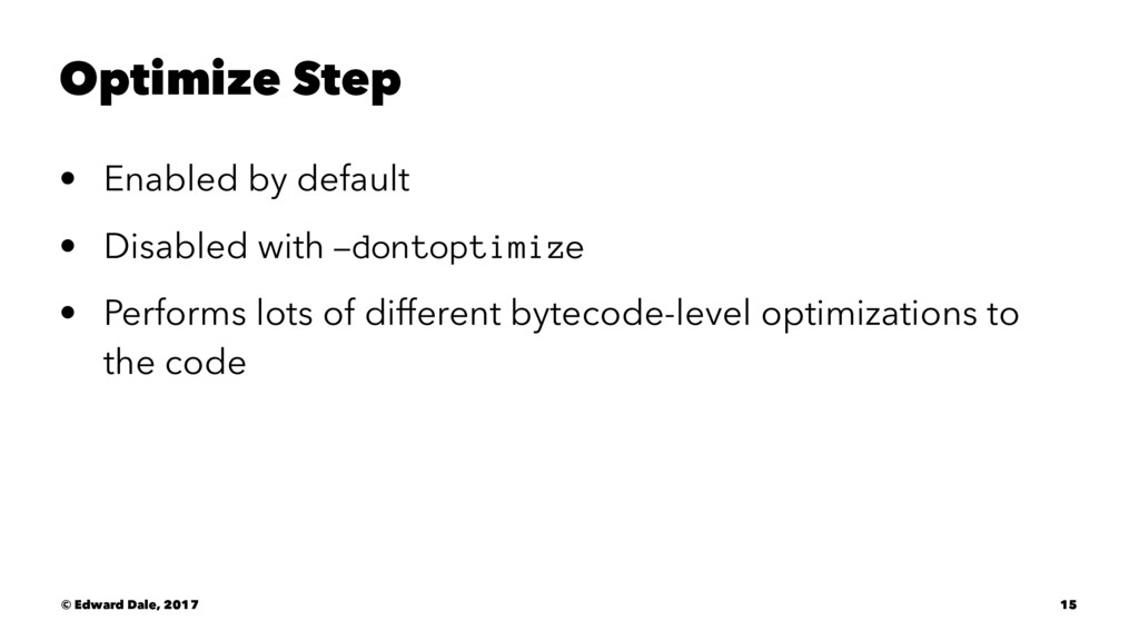 Optimize Step • Enabled by default • Disabled w...