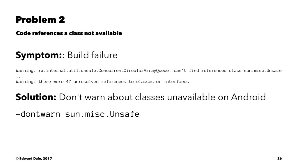 Problem 2 Code references a class not available...