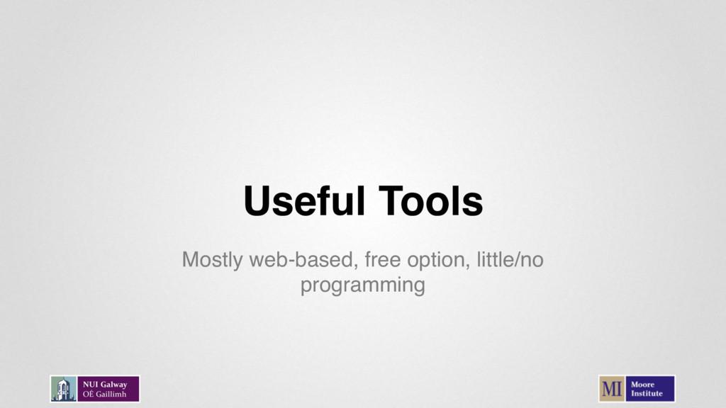 Useful Tools Mostly web-based, free option, lit...