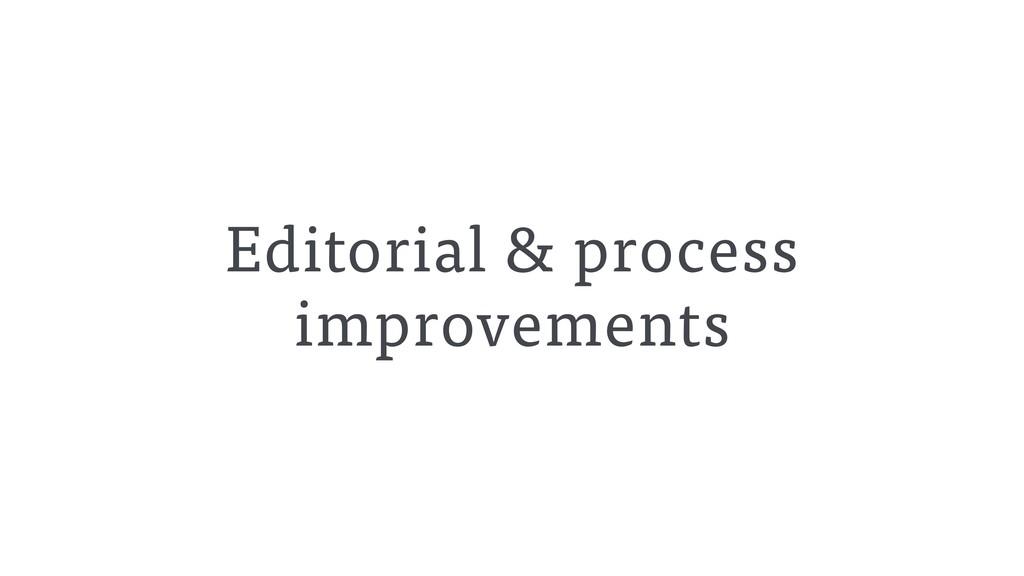 Editorial & process improvements