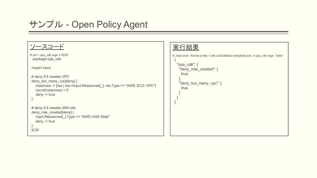 サンプル - Open Policy Agent 実行結果 $ ./opa eval --fo...